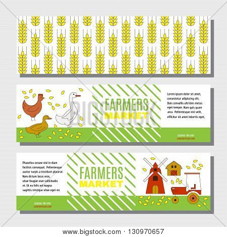 Flyer or banner for information on farm products. Cute background with farm poultry tractor and mill. Template for your business.