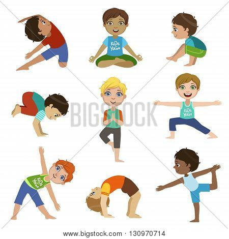 Little Boys Doing Yoga Set Of Bright Color Cartoon Childish Style Flat Vector Drawings Isolated On White Background