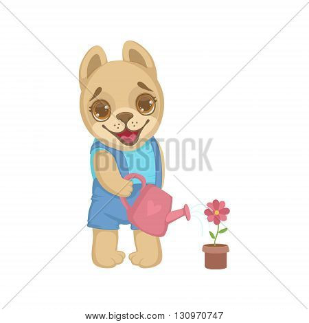 Puppy Watering Flowers Colorful Illustration In Cute Girly Cartoon Style Isolated On White Background