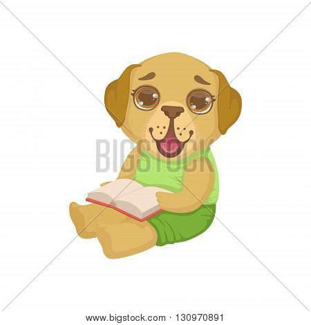 Puppy Reading A Book Colorful Illustration In Cute Girly Cartoon Style Isolated On White Background