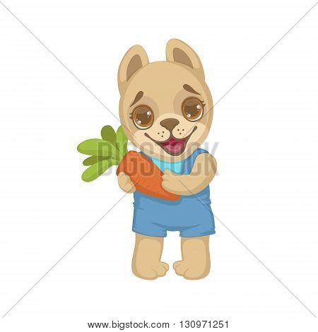 Puppy Holding A Carrot Colorful Illustration In Cute Girly Cartoon Style Isolated On White Background