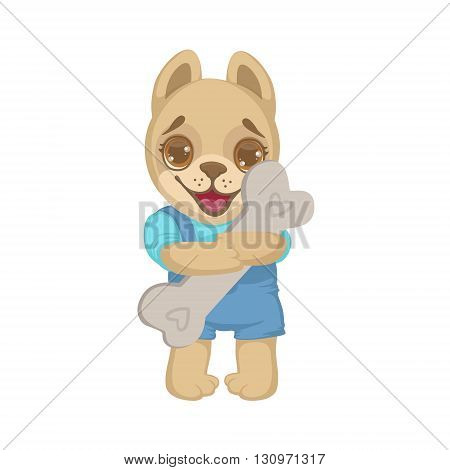Puppy Holding A Bone Colorful Illustration In Cute Girly Cartoon Style Isolated On White Background