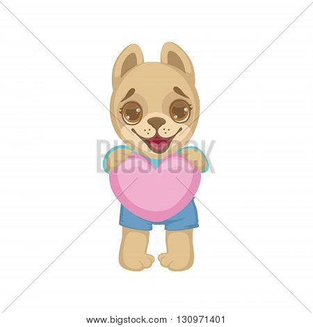 Puppy Holding A Pink Heart Colorful Illustration In Cute Girly Cartoon Style Isolated On White Background