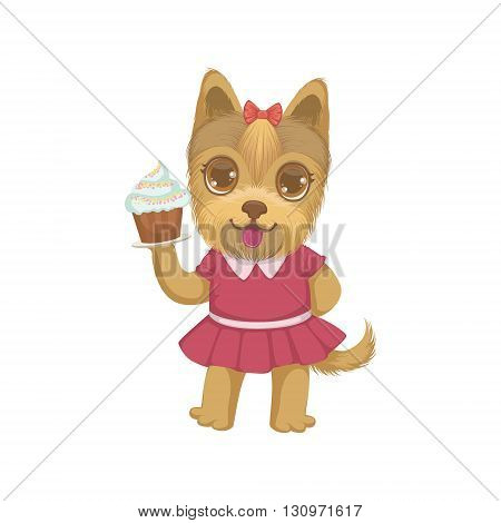 Puppy Holding A Cupcake Colorful Illustration In Cute Girly Cartoon Style Isolated On White Background