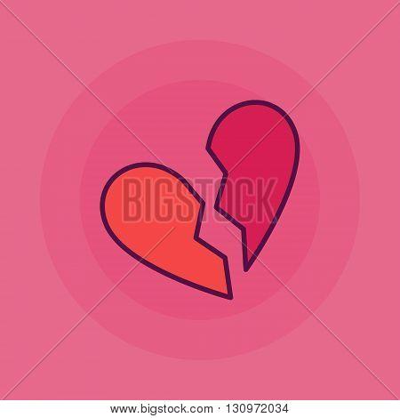Broken heart illustratioon - vector simple divorce symbol. End of love sign on pink background