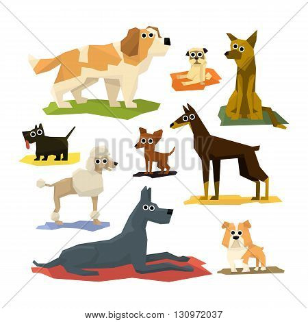 Different Dog Breeds Collection Of Bright Color Simplified Geometric Style Flat Vector Illustrations On White Background