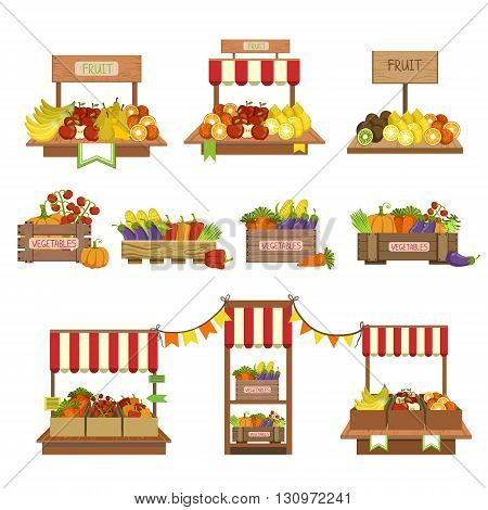 Vegetables Market Stands Set Of Simple Style Flat Vector Illustrations On White Background