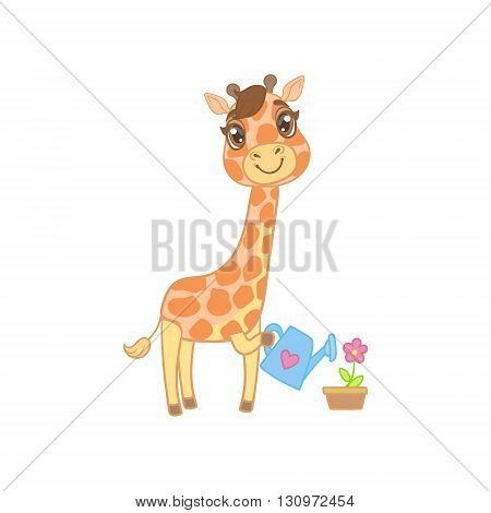 Giraffe Watering The Flowers Outlined Flat Vector Illustration In Cute Girly Cartoon Style Isolated On White Background