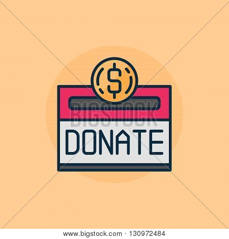 Donation flat illustration - vector money donate sign or charity concept minimal symbol