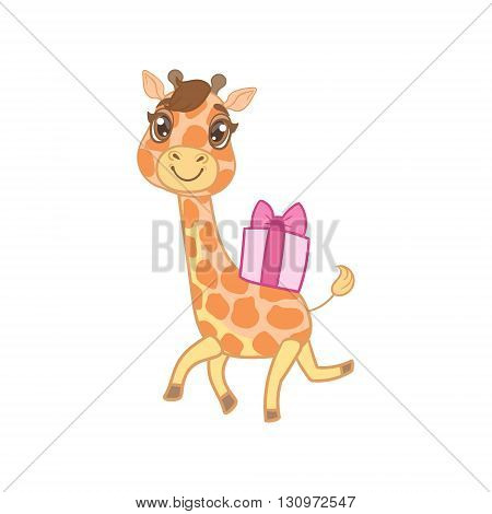 Giraffe With Gift On The Back Outlined Flat Vector Illustration In Cute Girly Cartoon Style Isolated On White Background