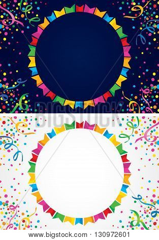 background with many colorful flags and confetti around a circular area to put text