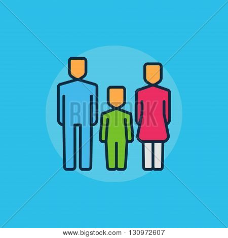 Family flat minimal illustration - vector man, woman and baby colorful sign. Mother, father and kid symbol