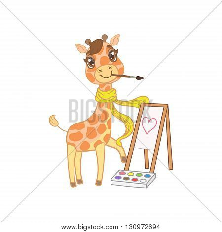 Giraffe In Scarf Painting Outlined Flat Vector Illustration In Cute Girly Cartoon Style Isolated On White Background