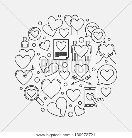 Heart round illustration - vector love symbol made with thin line hearts
