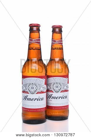 IRVINE CA - MAY 21 2016: Two Budweiser America Bottles. A limited edition to celebrate