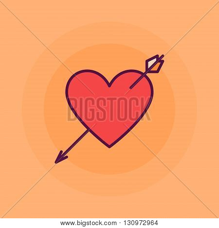 Heart with arrow flat illustration - vector simple heart shot symbol on yellow background