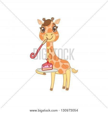 Giraffe With Slice Of Cake Outlined Flat Vector Illustration In Cute Girly Cartoon Style Isolated On White Background
