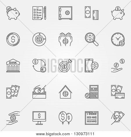 Money saving icons - vector set of finance and money economy symbol or logo elements in thin line style