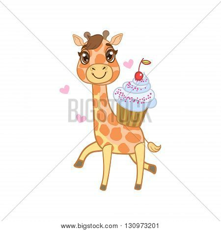 Giraffe With Cupcake Outlined Flat Vector Illustration In Cute Girly Cartoon Style Isolated On White Background