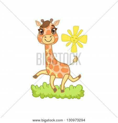 Giraffe Walking Outside Outlined Flat Vector Illustration In Cute Girly Cartoon Style Isolated On White Background