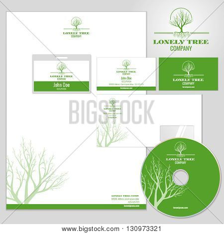 Corporate identity vector mockup template with tree logo. Identity corporate, business identity company, card identity  branding illustration