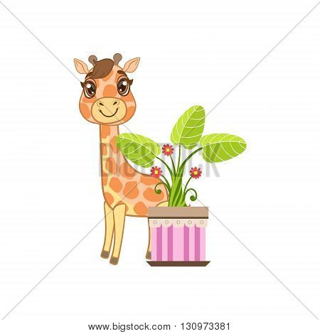 Giraffe Behind The Flower In Pot Outlined Flat Vector Illustration In Cute Girly Cartoon Style Isolated On White Background