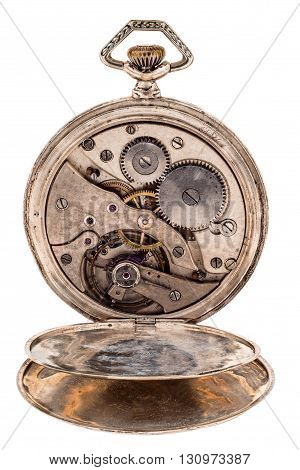 Vintage Pocket Watch With Open Rear Lid.