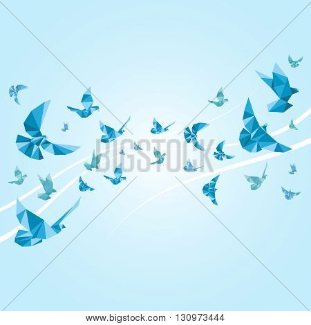 Origami paper doves. Vector abstract background. Origami dove, dove bird, animal decoration dove or pigeon illustration
