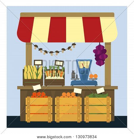 Market Stand With Fresh Vegetables Flat Simple Colorful Design Vector Illustration