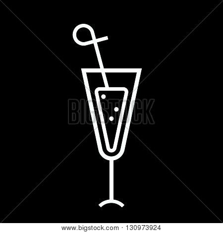 Cocktail line art vector icon isolated on a black background.