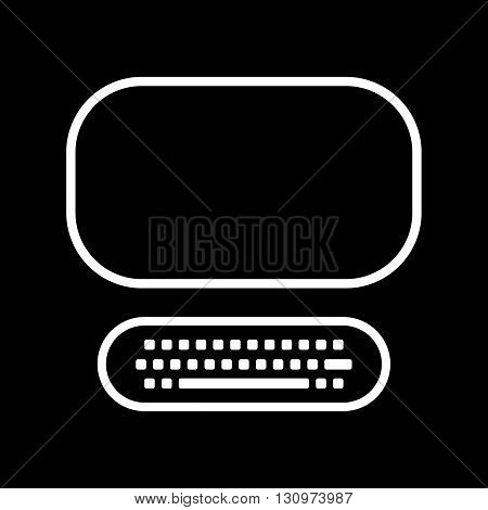 Computer line art vector icon isolated on a black background.