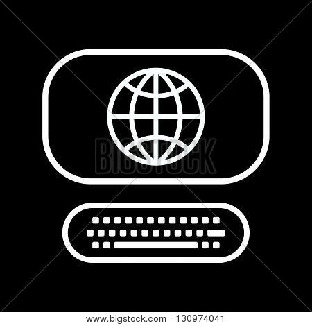 Vector line art computer icon with globe sign isolated on a black background