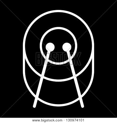 Drum line art vector icon isolated on a black background.