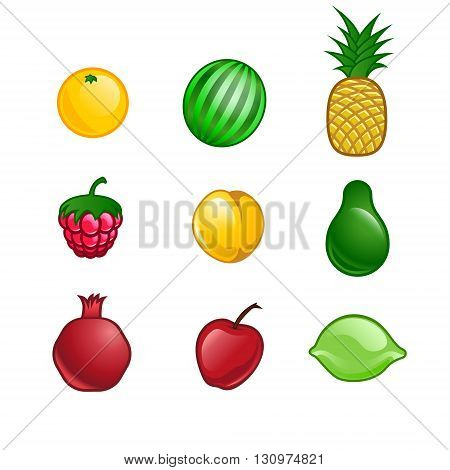 set of isolated vector-style fruits for your design