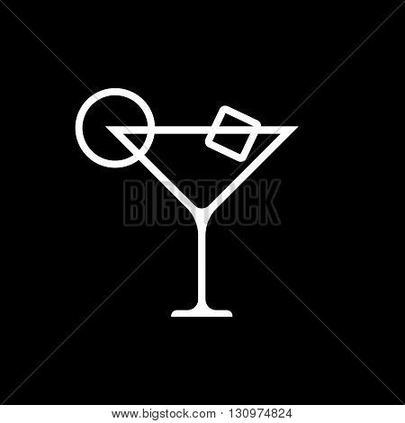 Martini cocktail line art vector icon isolated on a black background.