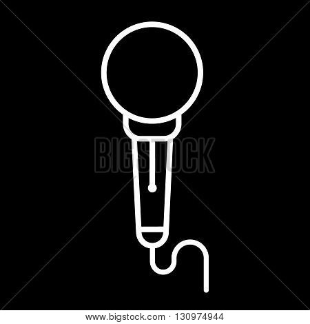 Microphone line art vector icon isolated on a black background.