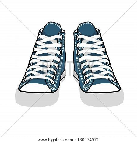 vector isolated cartoon blue sneakers back view