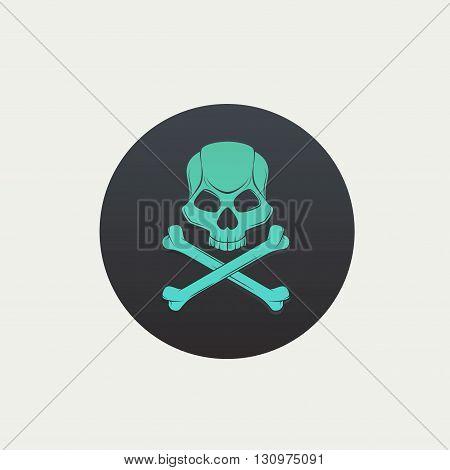 Skull and crossbones vector black spot retro style