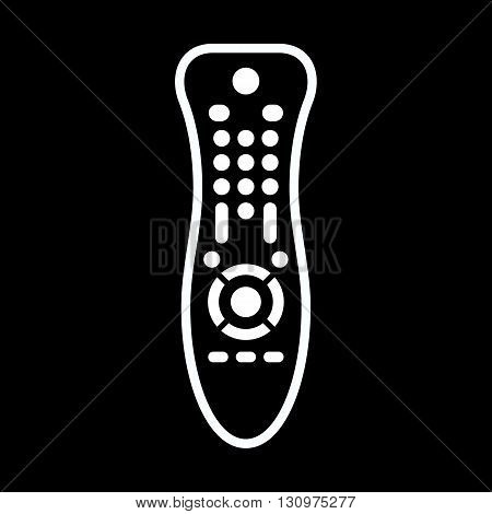 TV remote control line art vector icon isolated on a black background.