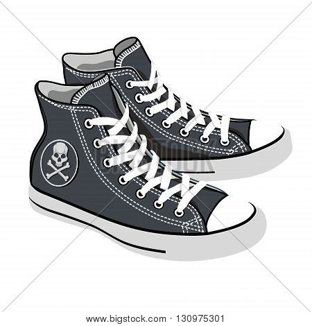 vector isolated cartoon black sneakers with skull
