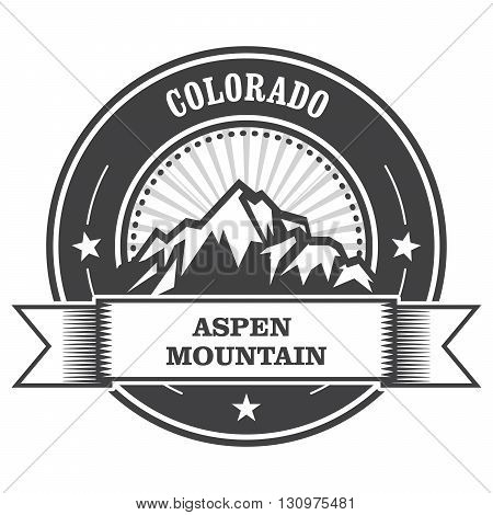 Aspen Colorado - mountain peak round stamp