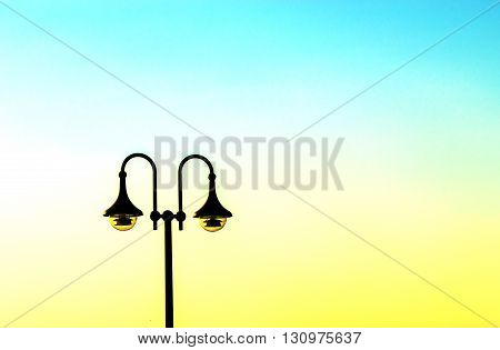 Vintage street lamp against sky, latern and streetlight .