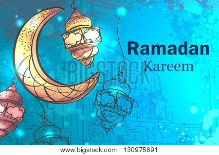 Colorful design is decorated with a crescent moon hanging lamps on the creative background to celebrate the Islamic holiday of Ramadan Kareem