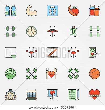 Colorful fitness line icons set - vector set of fitness and a healthy lifestyle flat signs