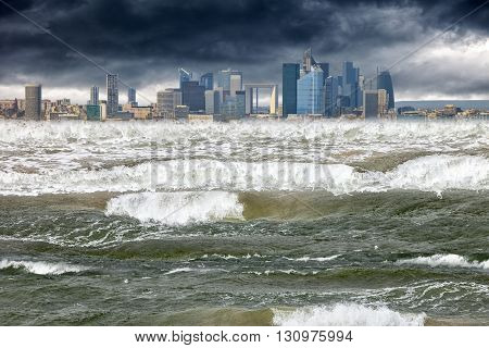 Tsunami disaster that struck in modern city.
