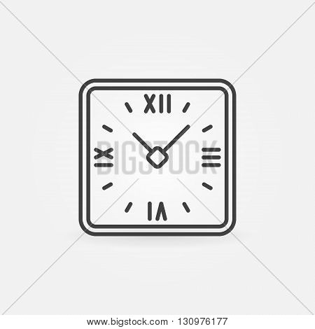 Retro clock in rounded squares icon - vector thin line time or watch symbol