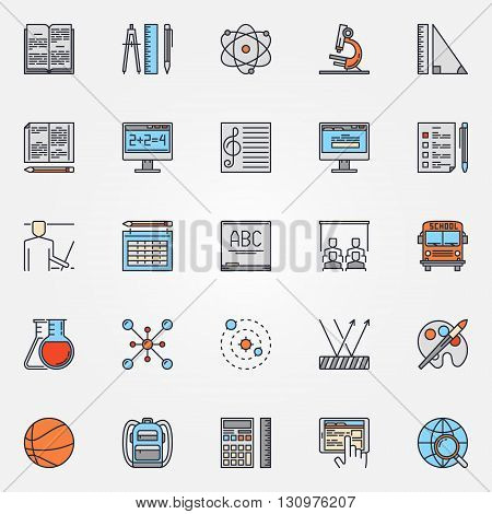 School icons set - vector colorful education symbols. Education and science signs for your design