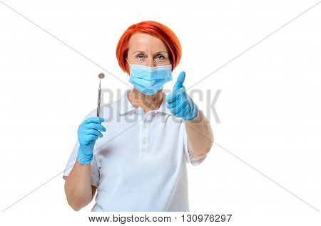 Female Health Care Professional Giving Thumbs Up