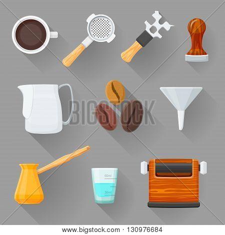 Colorful Barista Equipment Illustration Set.