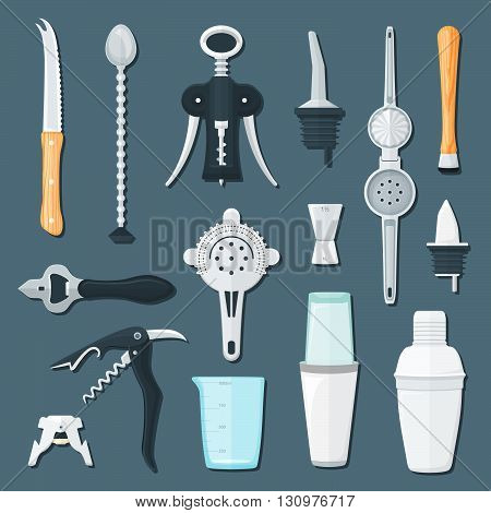 Barman Equipment Flat Illustration Set.